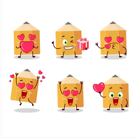 Pencil cartoon character with love cute emoticon
