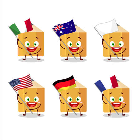Pencil cartoon character bring the flags of various countries Иллюстрация