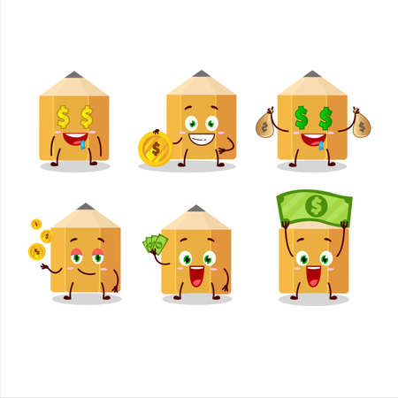 Pencil cartoon character with cute emoticon bring money Иллюстрация
