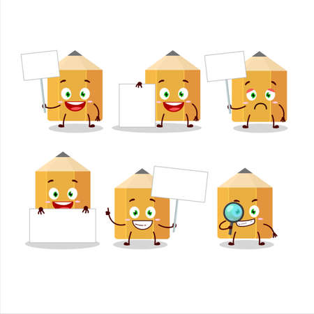 Pencil cartoon in character bring information board Иллюстрация