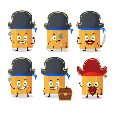 Cartoon character of pencil with various pirates emoticons Иллюстрация