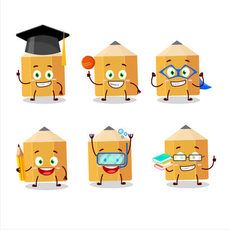 School student of pencil cartoon character with various expressions Иллюстрация