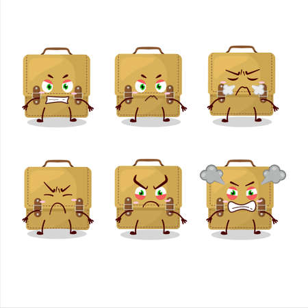 Sling bag school cartoon character with various angry expressions