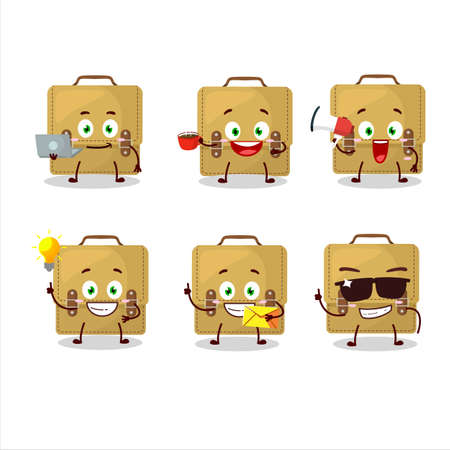Sling bag school cartoon character with various types of business emoticons Иллюстрация