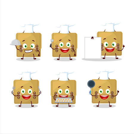 Cartoon character of sling bag school with various chef emoticons