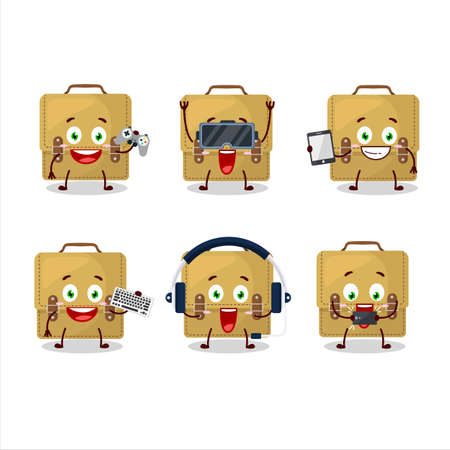 Sling bag school cartoon character are playing games with various cute emoticons
