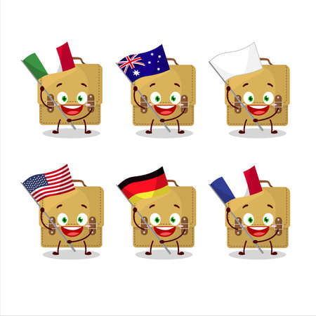 Sling bag school cartoon character bring the flags of various countries