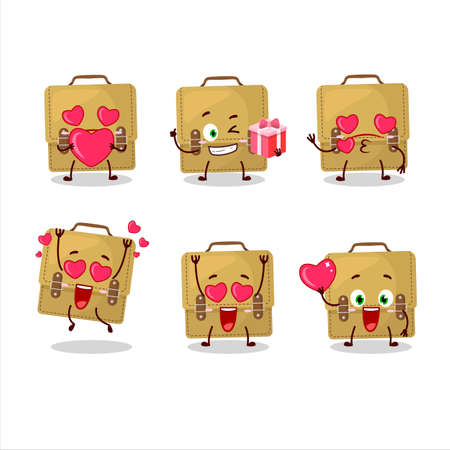Sling bag school cartoon character with love cute emoticon Иллюстрация