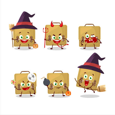 Halloween expression emoticons with cartoon character of sling bag school Иллюстрация
