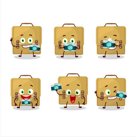 Photographer profession emoticon with sling bag school cartoon character Иллюстрация