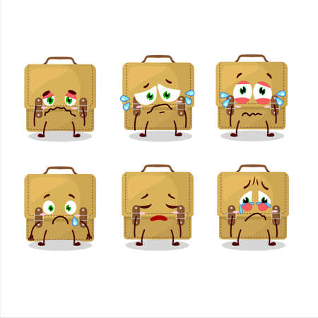 Sling bag school cartoon in character with sad expression
