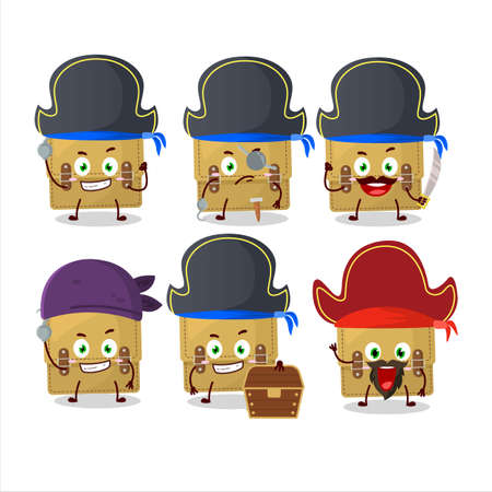Cartoon character of sling bag school with various pirates emoticons