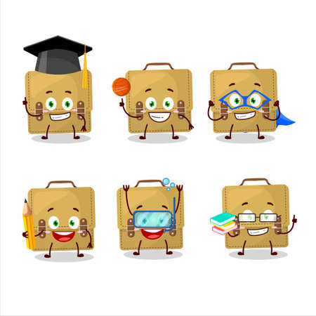 School student of sling bag school cartoon character with various expressions