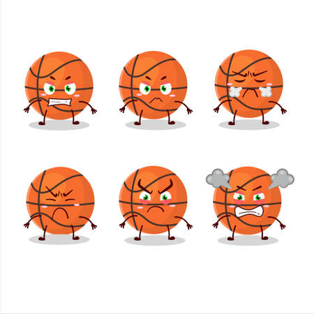 Basketball cartoon character with various angry expressions