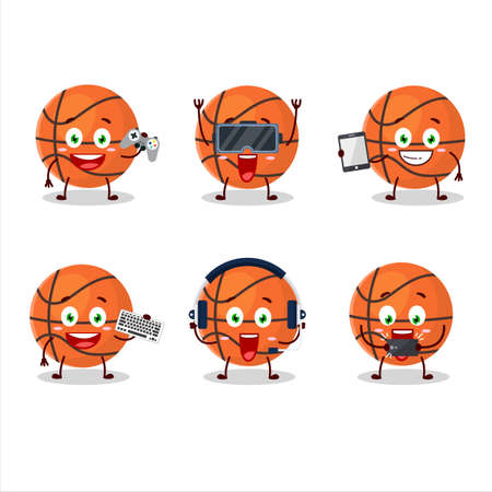 Basketball cartoon character are playing games with various cute emoticons Иллюстрация
