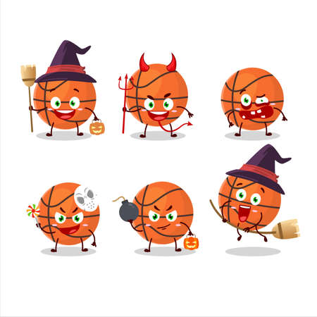 Halloween expression emoticons with cartoon character of basketball Иллюстрация