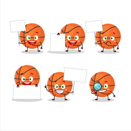 Basketball cartoon character bring information board