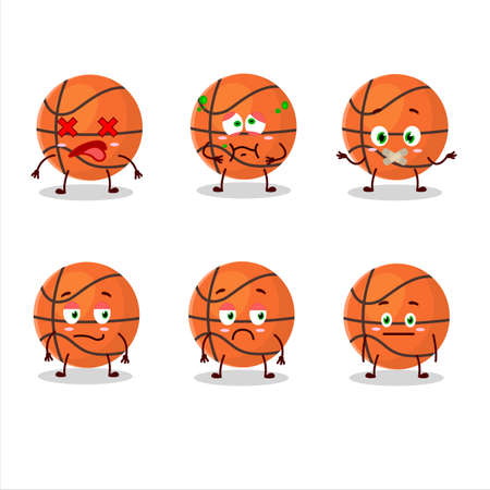 Basketball cartoon character with nope expression  イラスト・ベクター素材