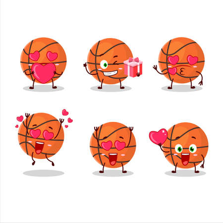 Basketball cartoon character with love cute emoticon