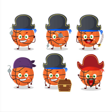 Cartoon character of basketball with various pirates emoticons