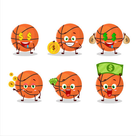 Basketball cartoon character with cute emoticon bring money Иллюстрация
