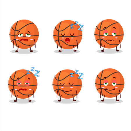 Cartoon character of basketball with sleepy expression