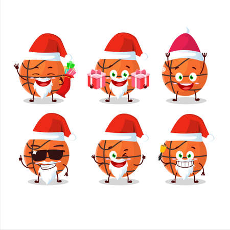 Santa Claus emoticons with basketball cartoon character Иллюстрация