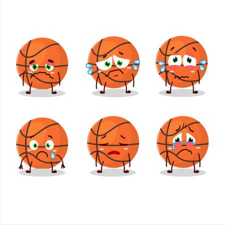 Basketball cartoon character with sad expression
