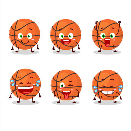 Cartoon character of basketball with smile expression