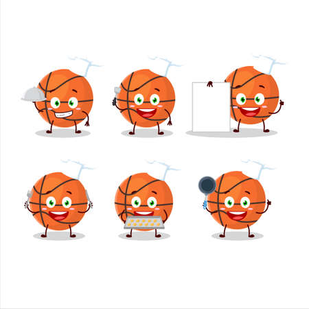 Cartoon character of basketball with various chef emoticons