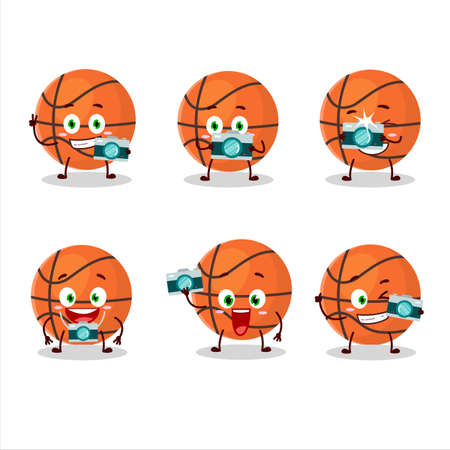 Photographer profession emoticon with basketball cartoon character