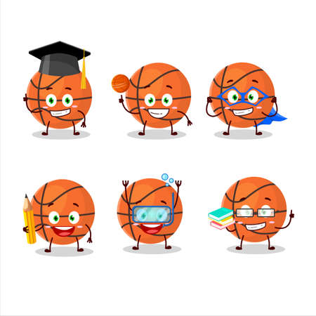 School student of basketball cartoon character with various expressions