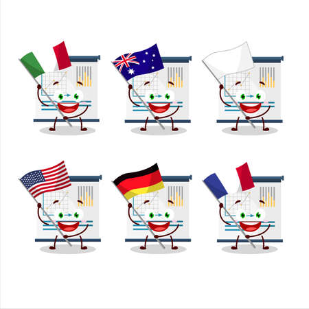 business presentation cartoon character bring the flags of various countries Vettoriali