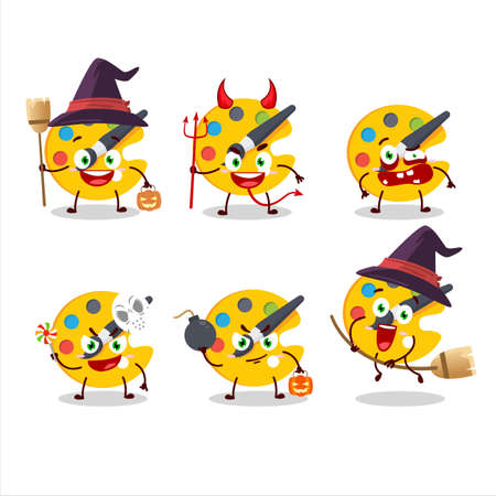 Halloween expression emoticons with cartoon character of color palette