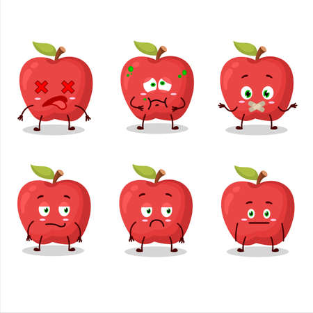 Apple cartoon in character with nope expression