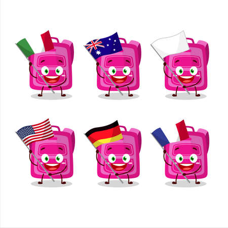 Pink school bag cartoon character bring the flags of various countries