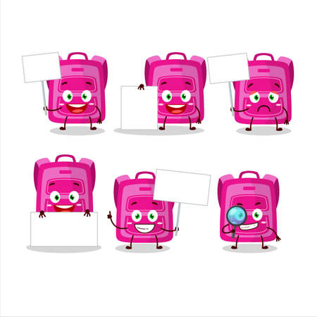 Pink school bag cartoon character bring information board
