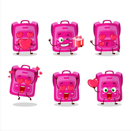Pink school bag cartoon character with love cute emoticon