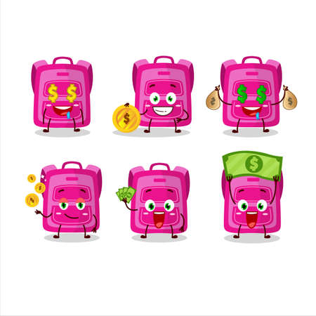 Pink school bag cartoon character with cute emoticon bring money