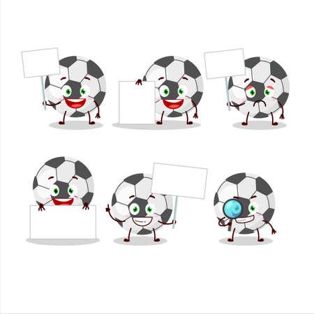 Soccer ball cartoon character bring information board