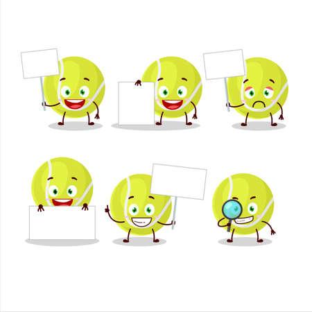 Tennis ball cartoon character bring information board Illustration