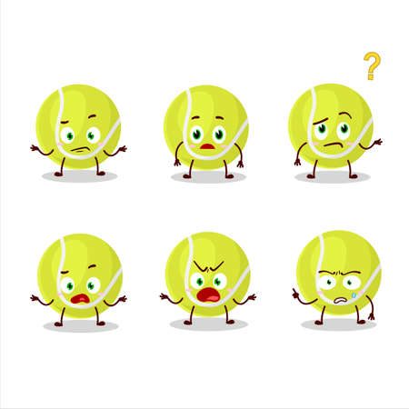 Cartoon character of tennis ball with what expression Vektorové ilustrace