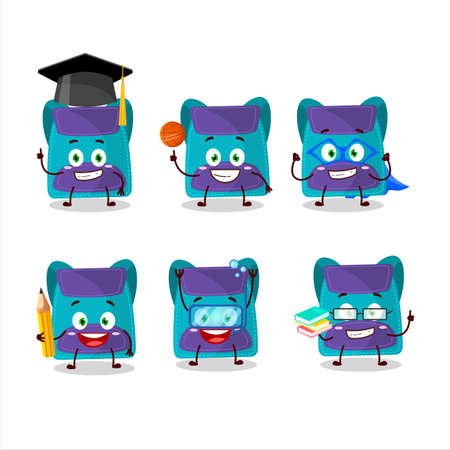 School student of blue bag cartoon character with various expressions Illustration