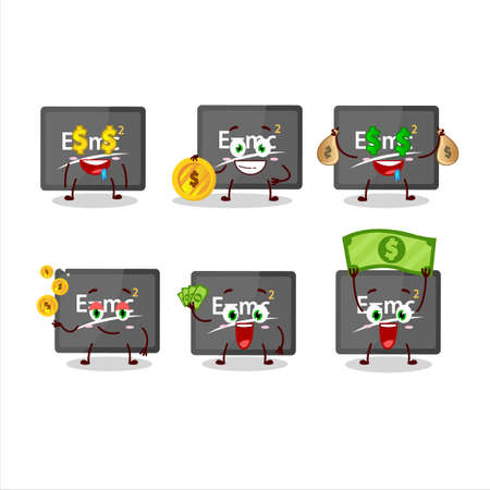 Physic board cartoon character with cute emoticon bring money