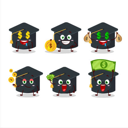 College hat cartoon character with cute emoticon bring money
