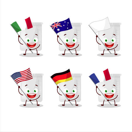 Science bottle cartoon character bring the flags of various countries