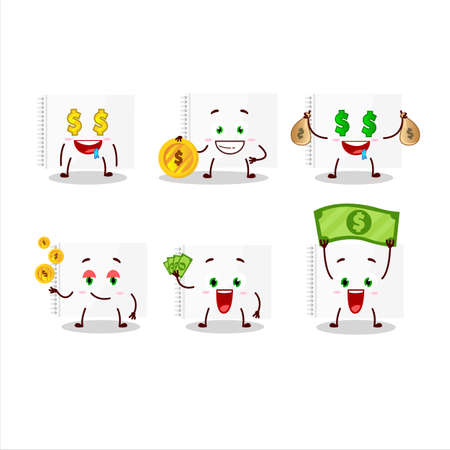 Drawing book cartoon character with cute emoticon bring money Illustration