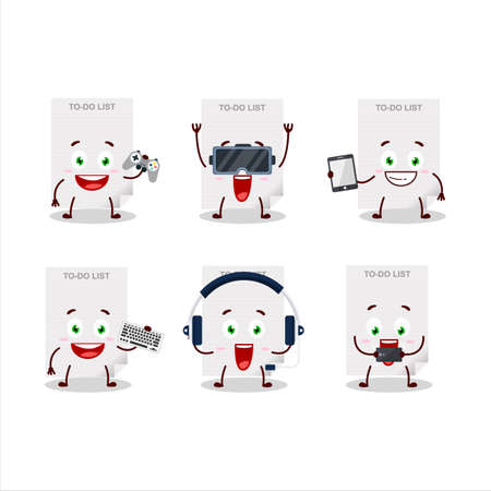 To-do list paper cartoon character are playing games with various cute emoticons