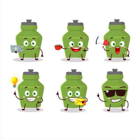 Green drink bottle cartoon character with various types of business emoticons