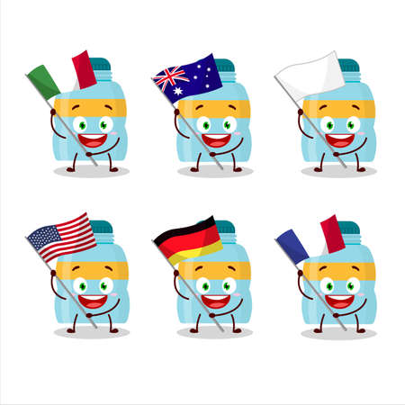 drink bottle cartoon character bring the flags of various countries Vettoriali